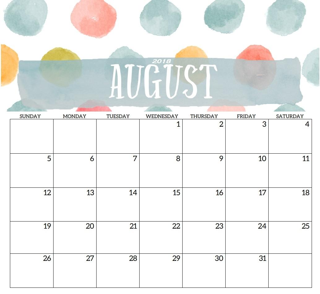 august 2018 printable calendar editable template printable Calendar August 2018 Printable Template erdferdf