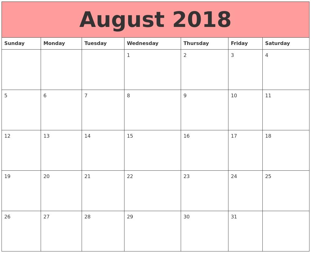 august 2018 printable calendar free printable calendar 2018 Calendar August 2018 Printable Schedule erdferdf