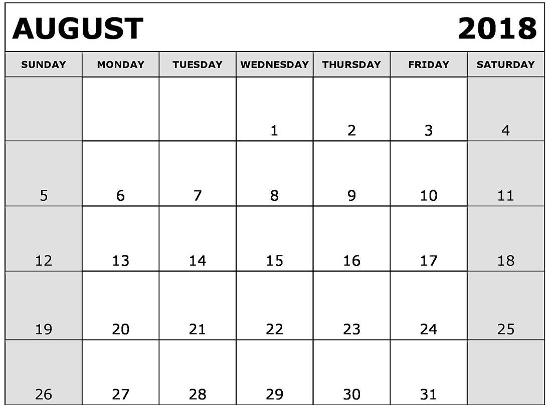 august 2018 printable calendar free printable calendar templates Calendar August 2018 Printable Schedule erdferdf