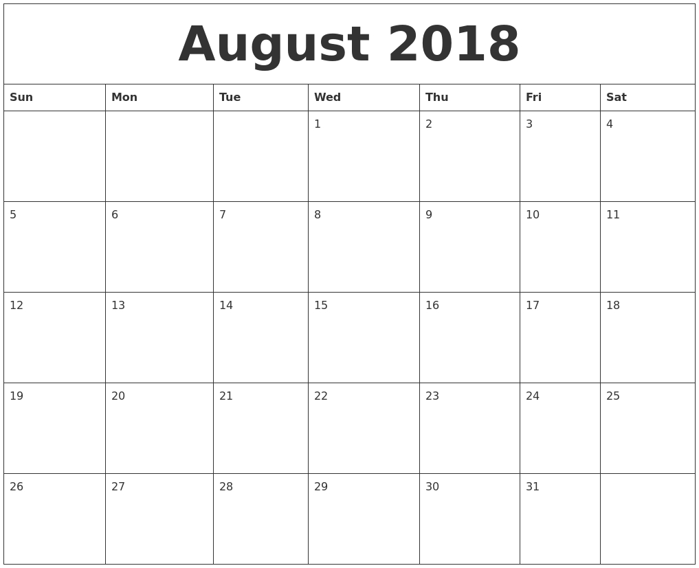 august 2018 printable calendar pages Blank Calendar Of August 2018 Full Page erdferdf