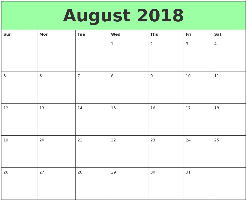 august 2018 printable calendars Calendar August 2018 Printable Schedule erdferdf