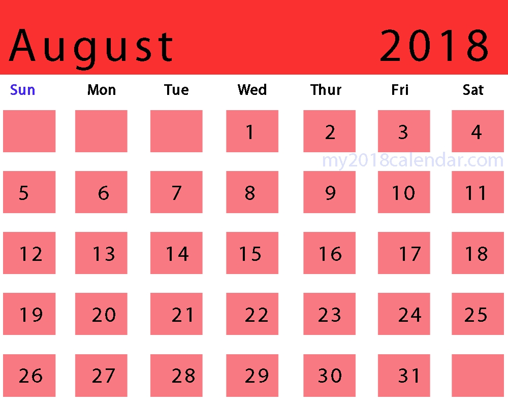 Printable Monthly Calendar For Aug 2018