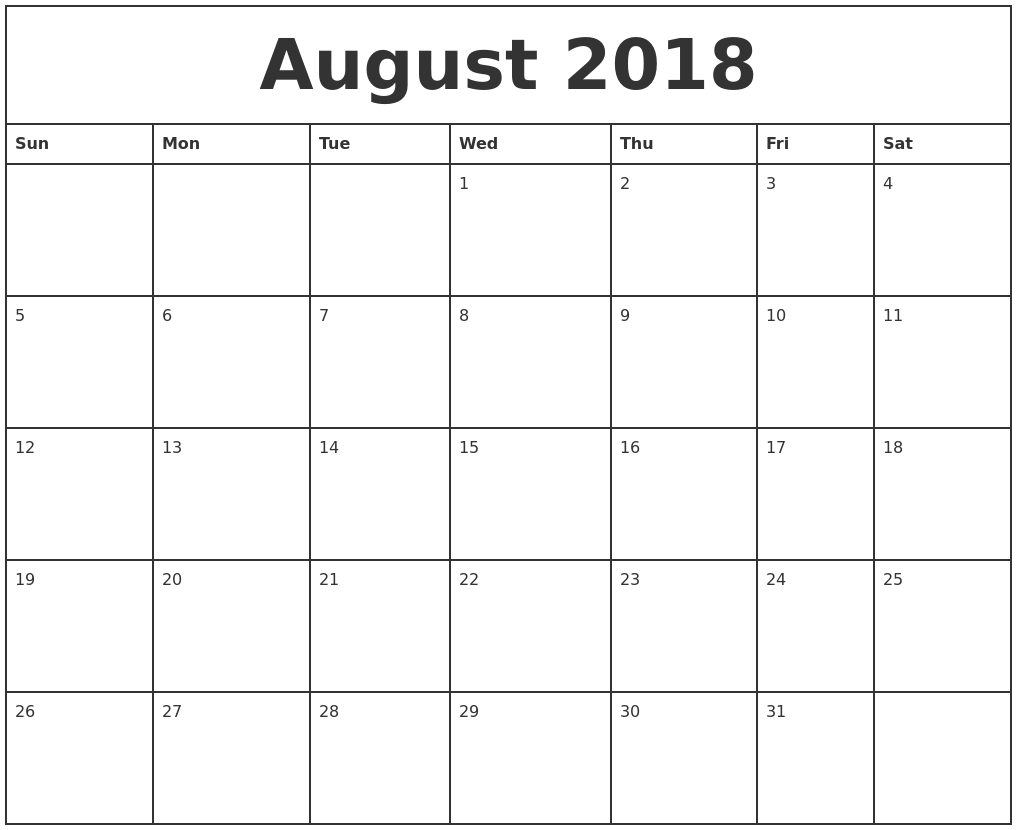 august 2018 printable monthly calendar Printable Monthly Calendar For Aug 2018 erdferdf