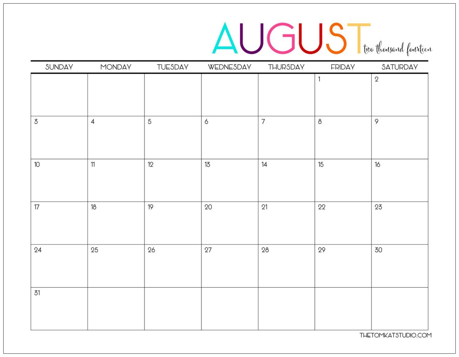 august calendar the tomkat studio Free Pretty Printable Calendars August 2018 erdferdf