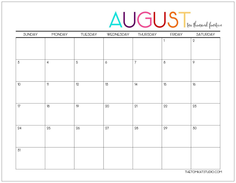 august calendar the tomkat studio Free Pretty Printable Calendars August 2018 erdferdf