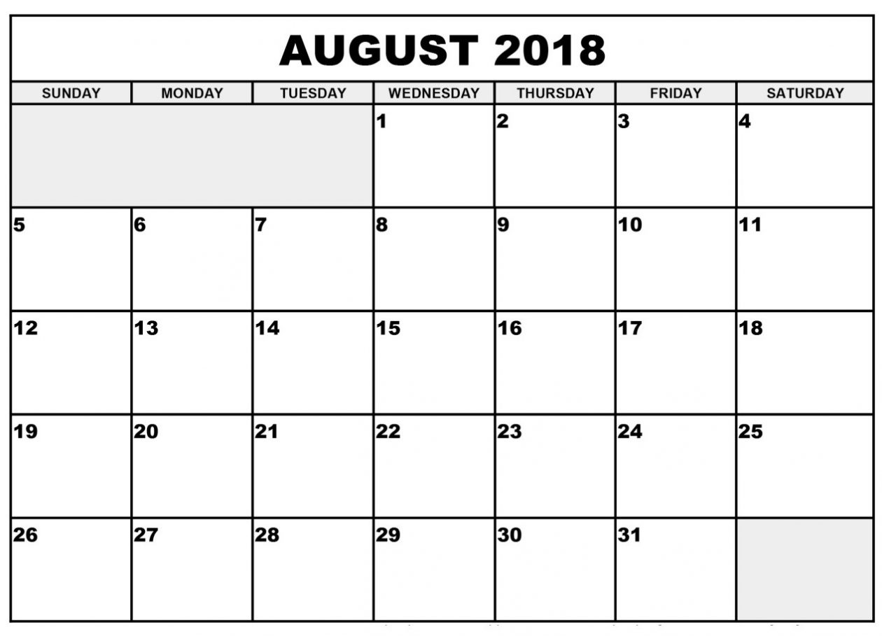 blank august 2018 calendar printable calendar 2018 template excel Blank Calendar Of August 2018 Full Page erdferdf