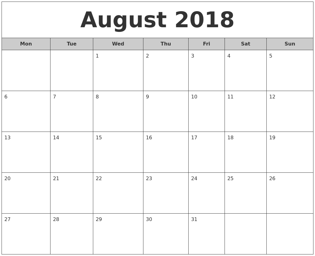 blank august 2018 calendar printable free Printable Monthly Calendar For Aug 2018 erdferdf