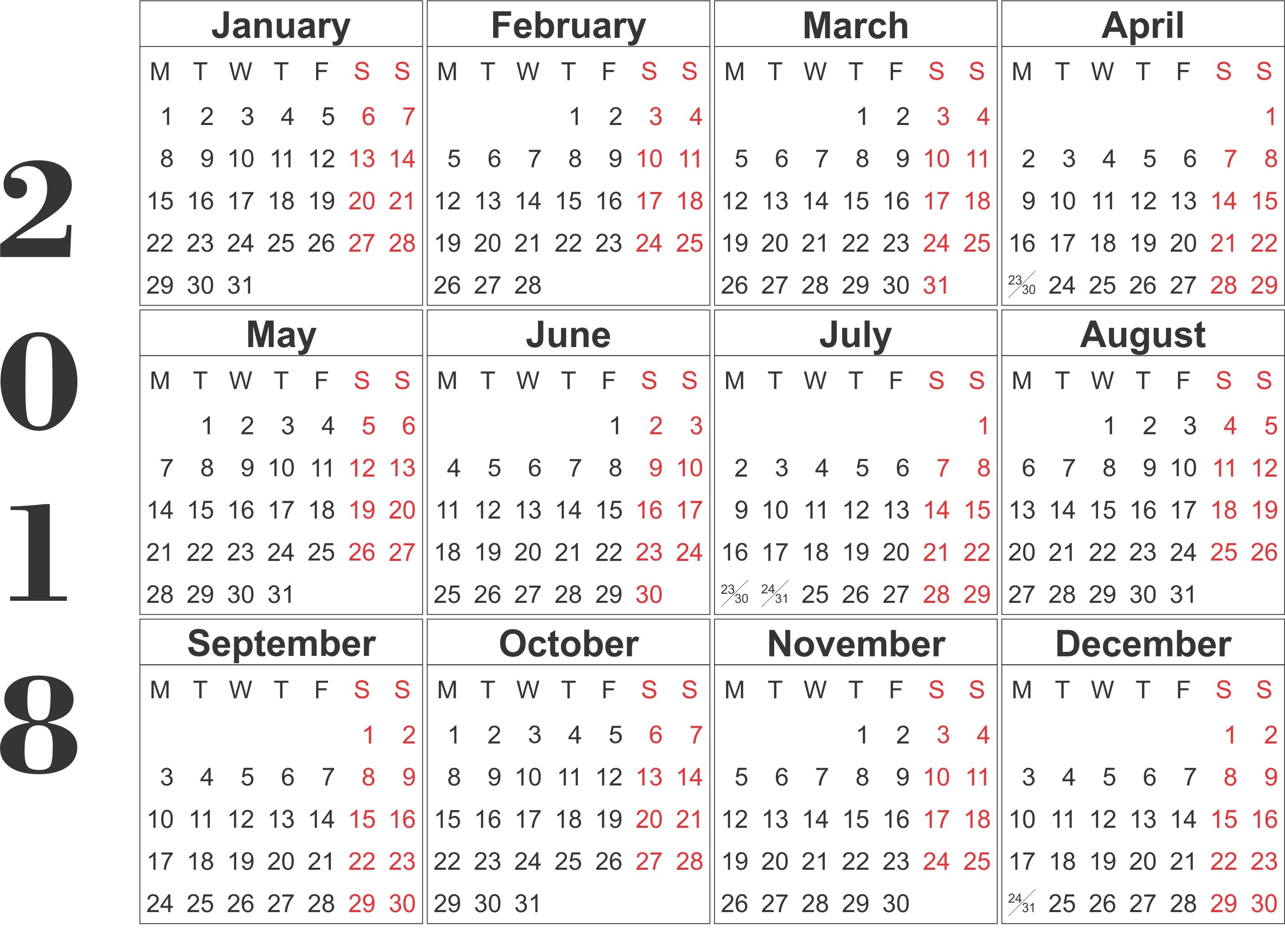 blank calendar 2018 yearly printable calendar Free Printable 12 Month Calendar 2018 erdferdf
