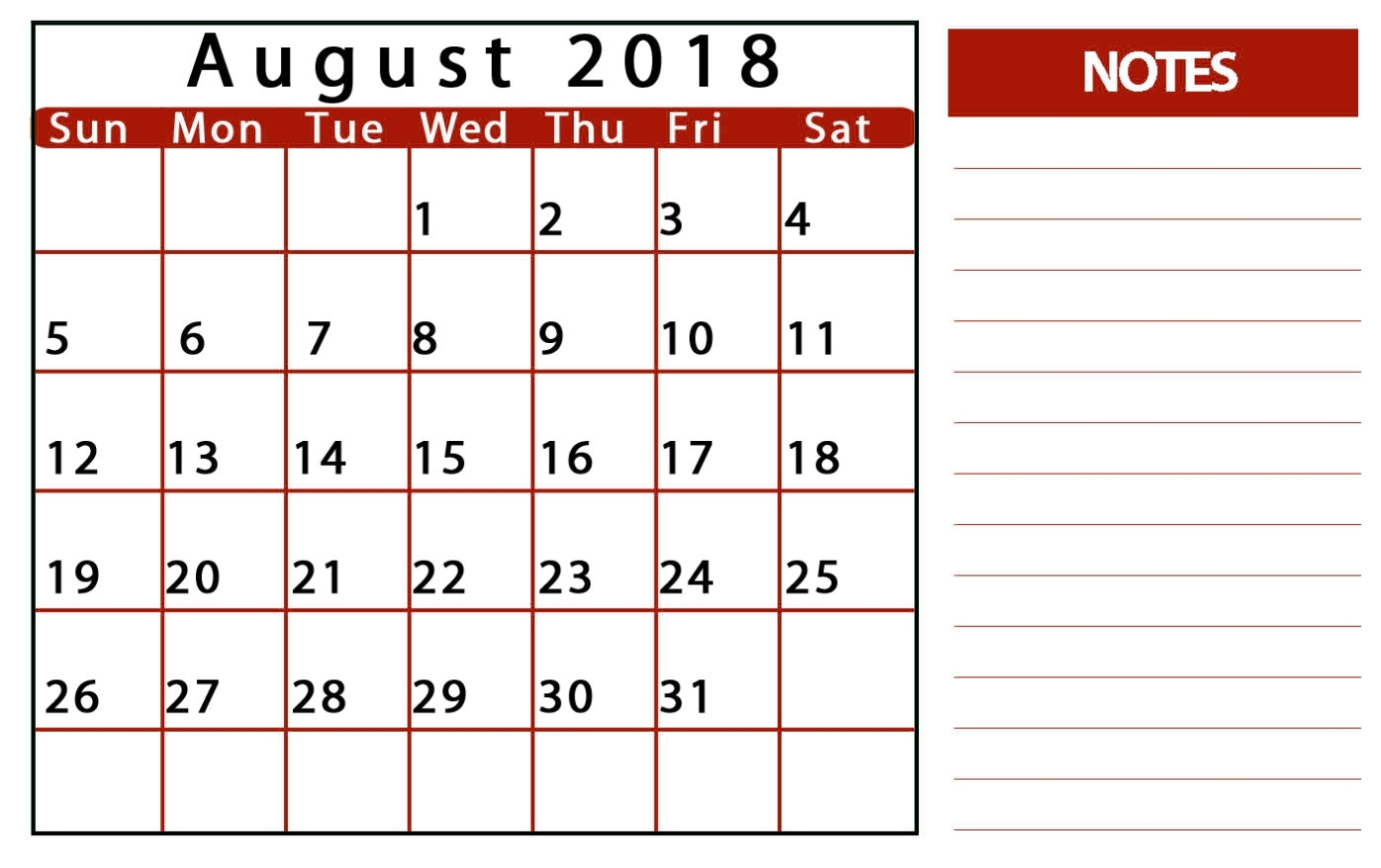 blank calendar august 2018 printable free template Blank Calendar Of August 2018 Full Page erdferdf