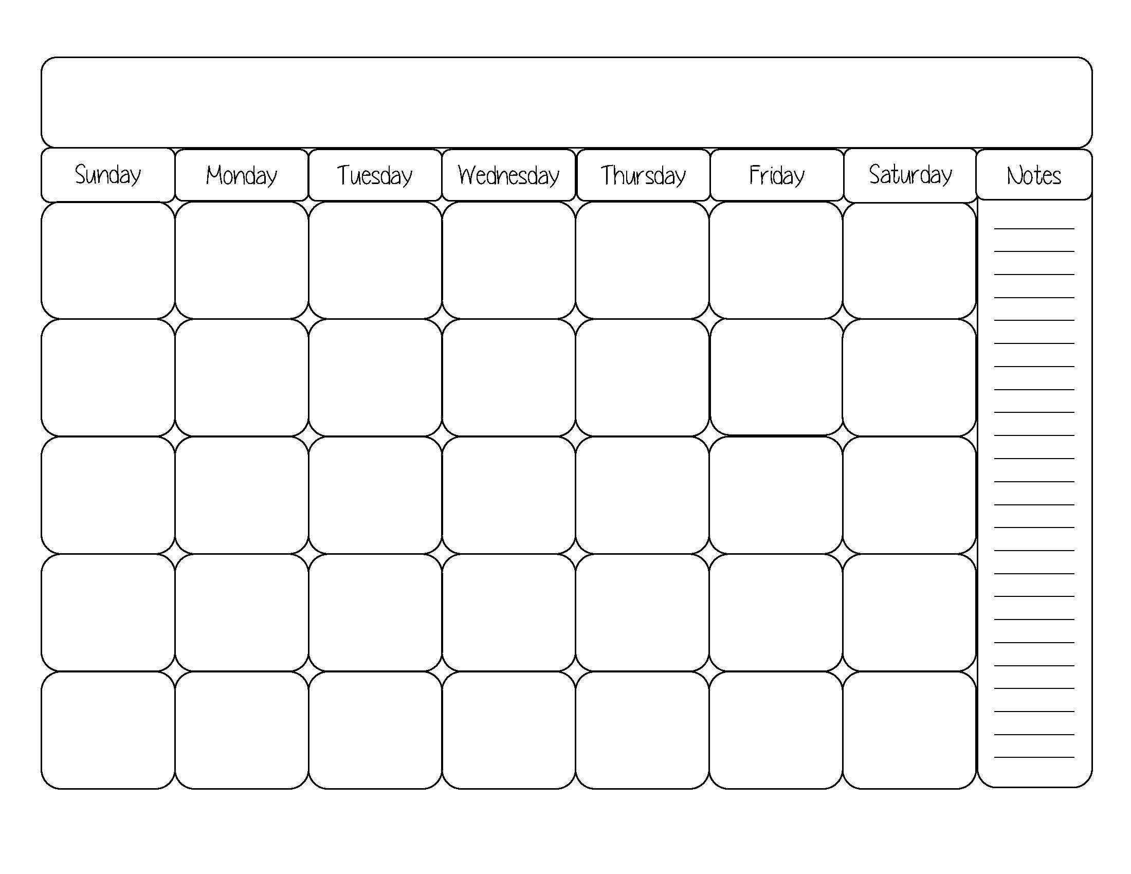blank calendar template cute printable editable blank randomness Cute Printable Blank Calendar Weekly Schedule erdferdf