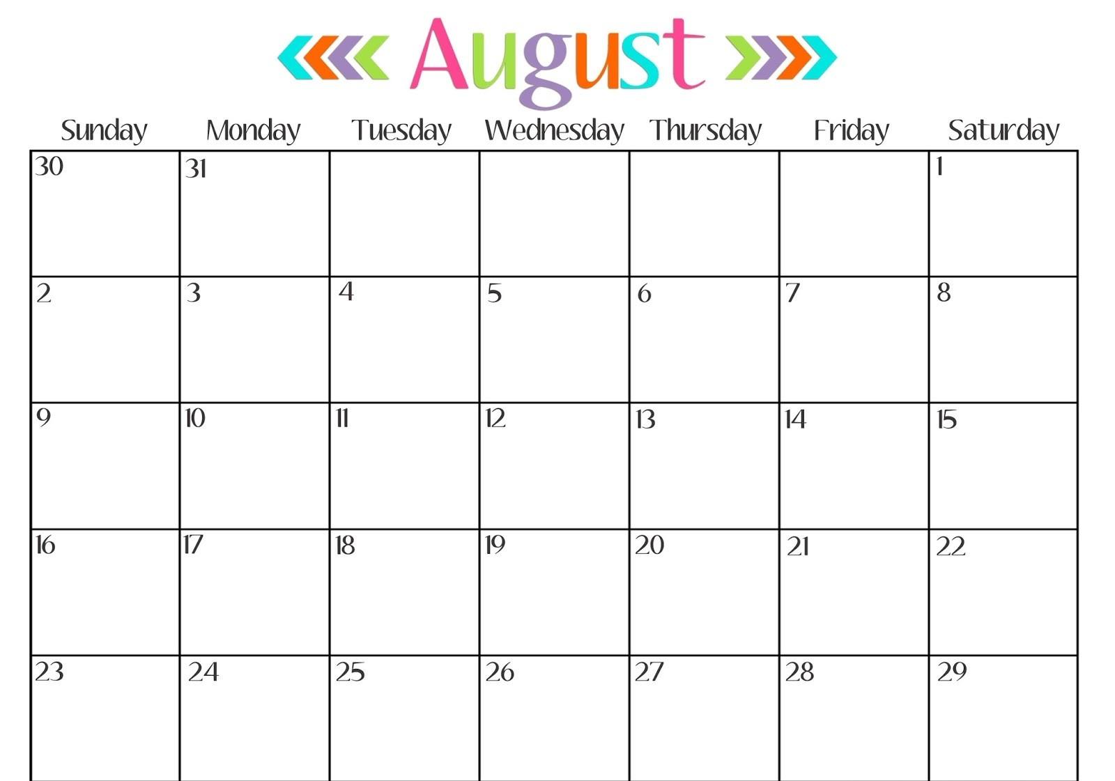 Calendar August 2018 Printable Uk