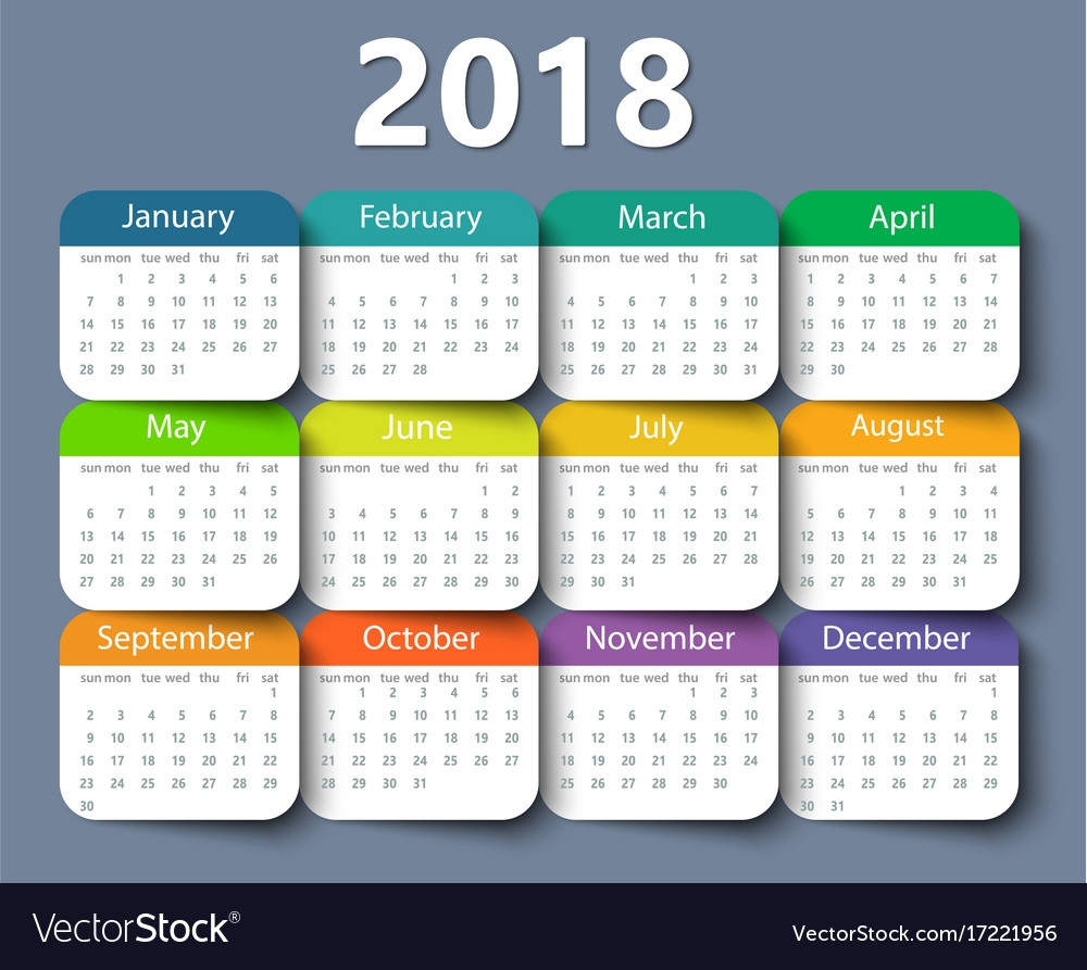 calendar 2018 year design template royalty free vector image Calendar 2018 Design erdferdf