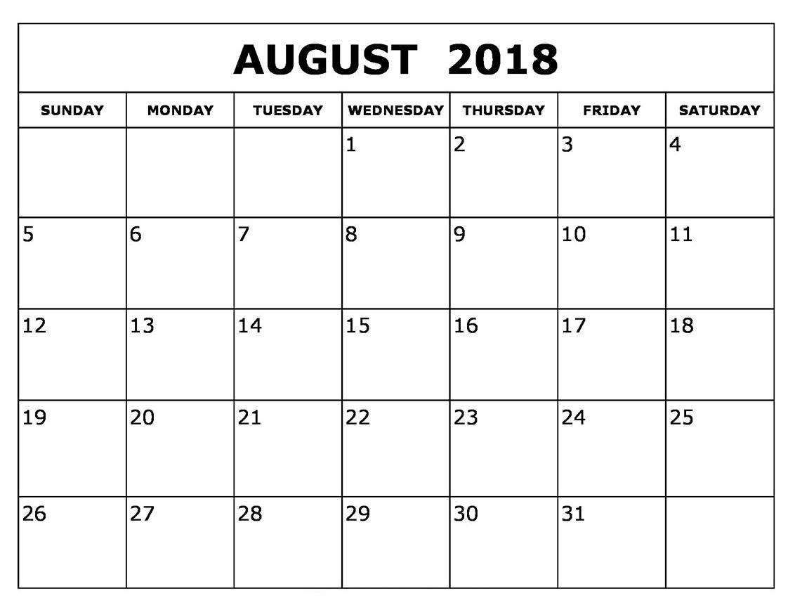calendar august 2018 printable template printable letter template Calendar August 2018 Printable Template erdferdf