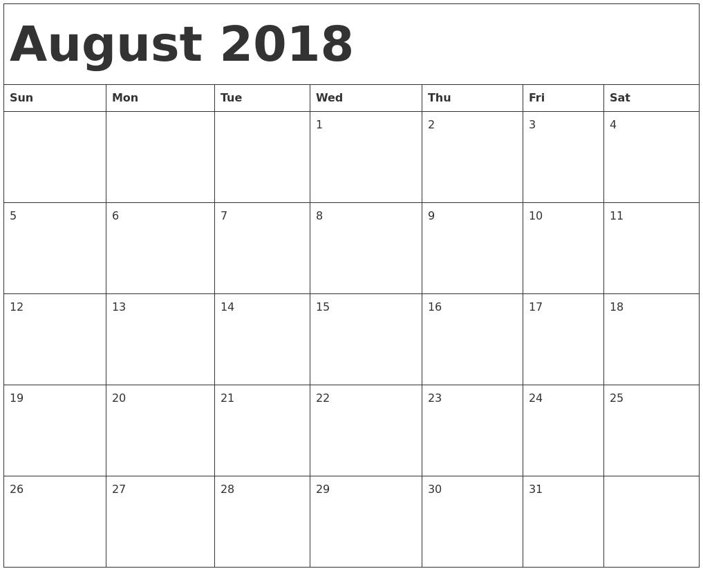 calendar august 2018 printable valentines free printable blank Printable Monthly Calendar For Aug 2018 erdferdf