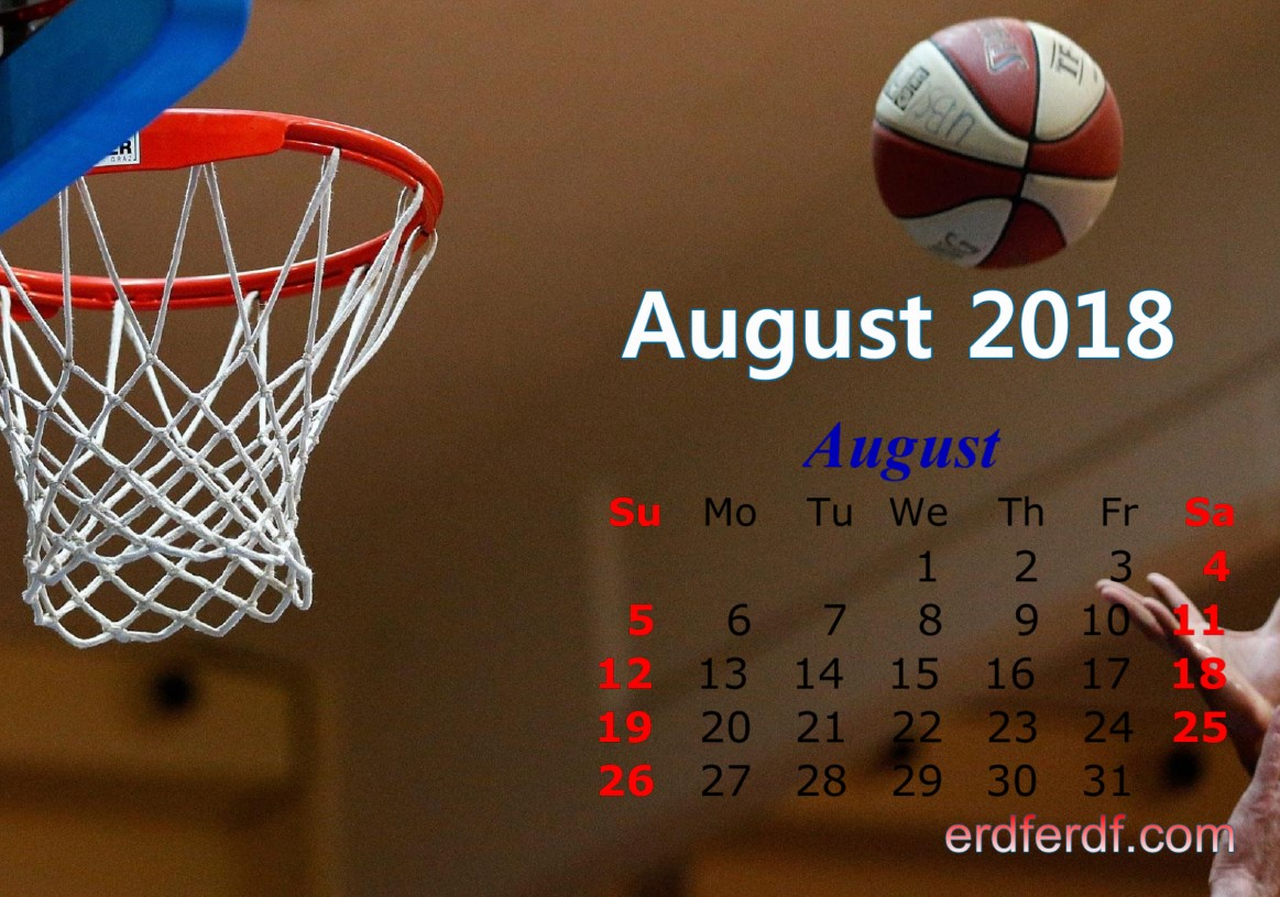 Calendar August 2018 UK Basketball