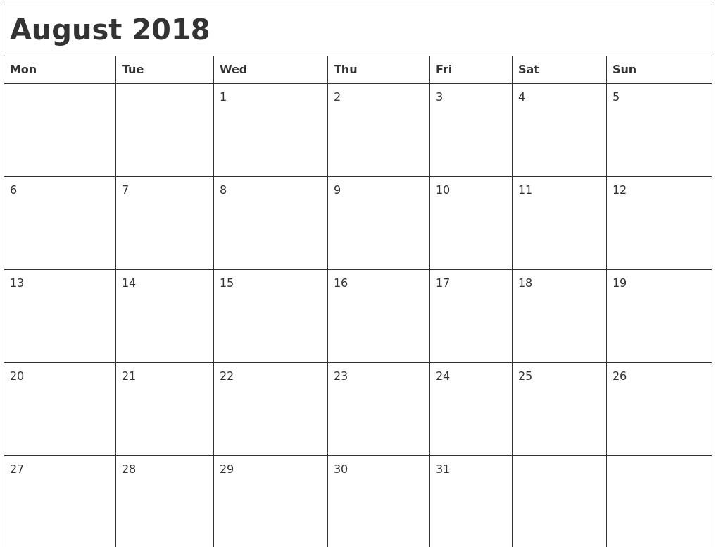 calendar august 2018 uk printable calendar 2018 template excel Calendar August 2018 Printable Uk erdferdf