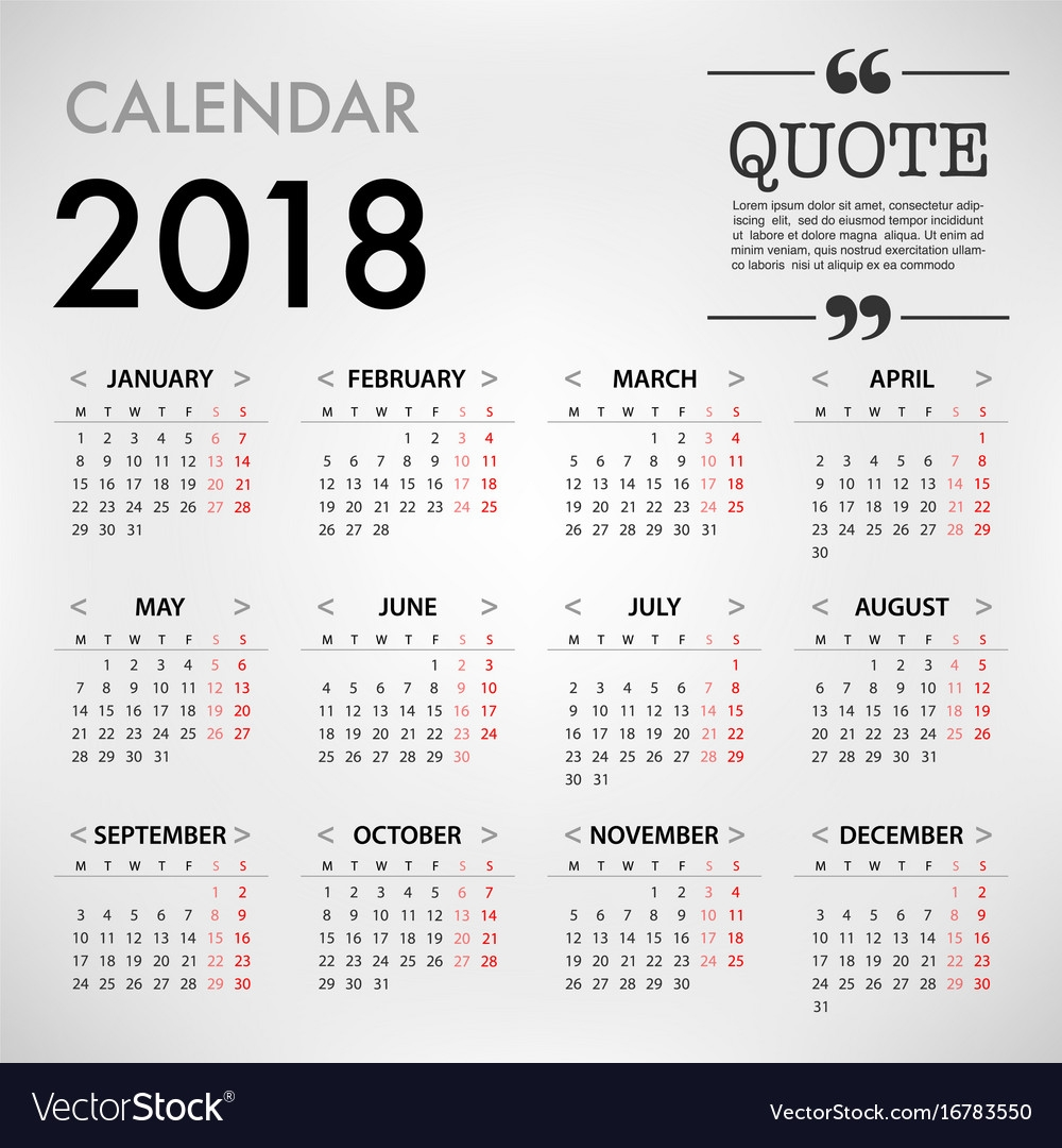 calendar for 2018 template design week starts vector image Calendar 2018 Design erdferdf