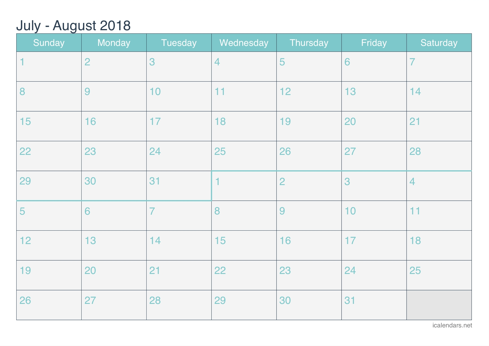 calendar july august 2018 printable template free download Calendar August 2018 Printable Free erdferdf