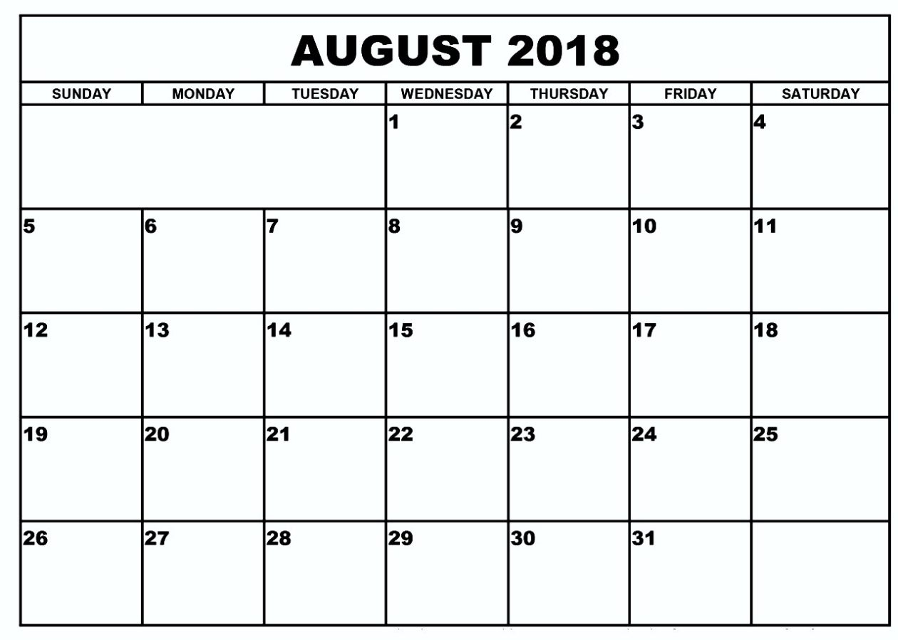 calendar of august 2018 printable monthly template Printable Monthly Calendar For Aug 2018 erdferdf