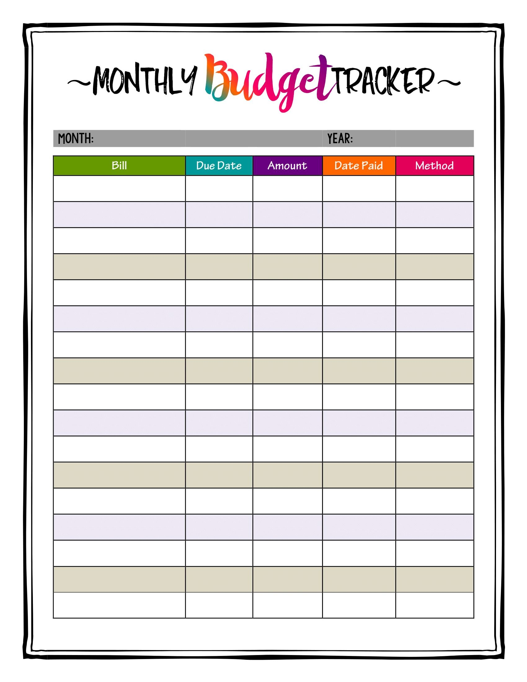 caribbean crazy color printable monthly budget planner bill   Monthly Bill Calendar For A Year erdferdf