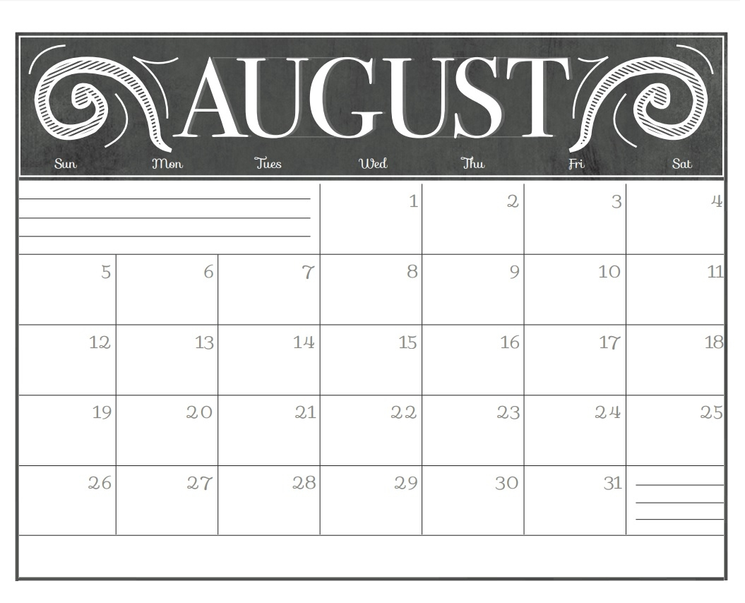 chalkboard free printable 2018 calendars max calendars Calendar August 2018 Printable Schedule erdferdf