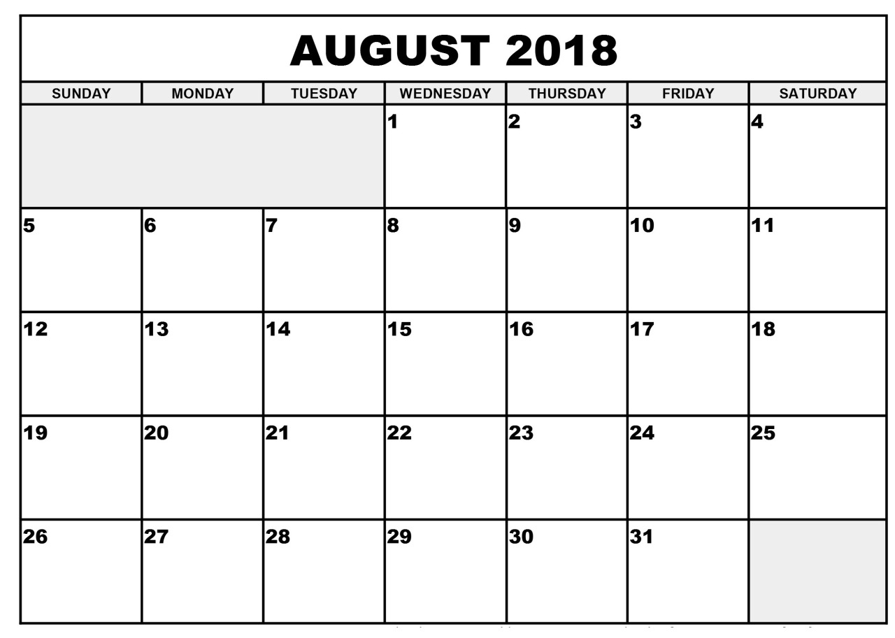 2018 Calendar August Through December