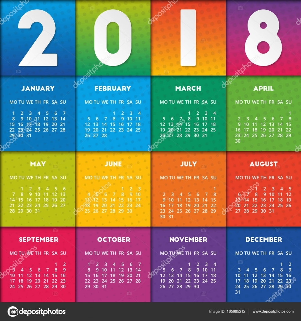colorful calendar 2018 design stock vector Calendar 2018 Design erdferdf
