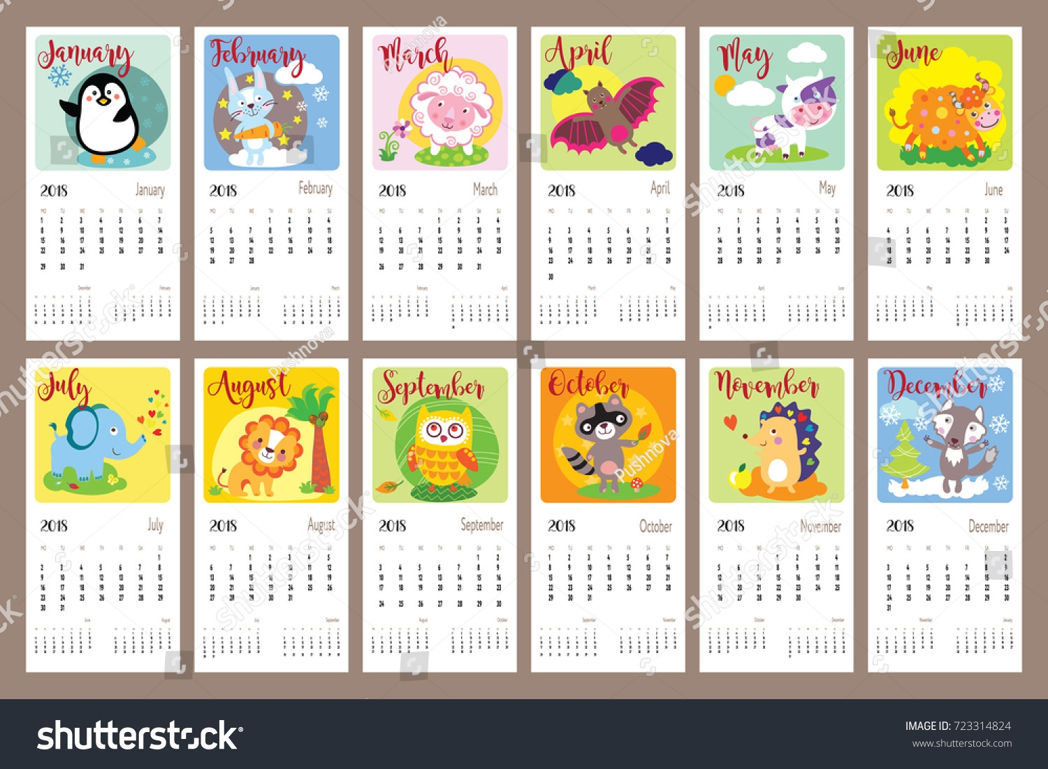 cute animals calendar 2018 year cute 2018 Printable Calendar Pretty By Year erdferdf