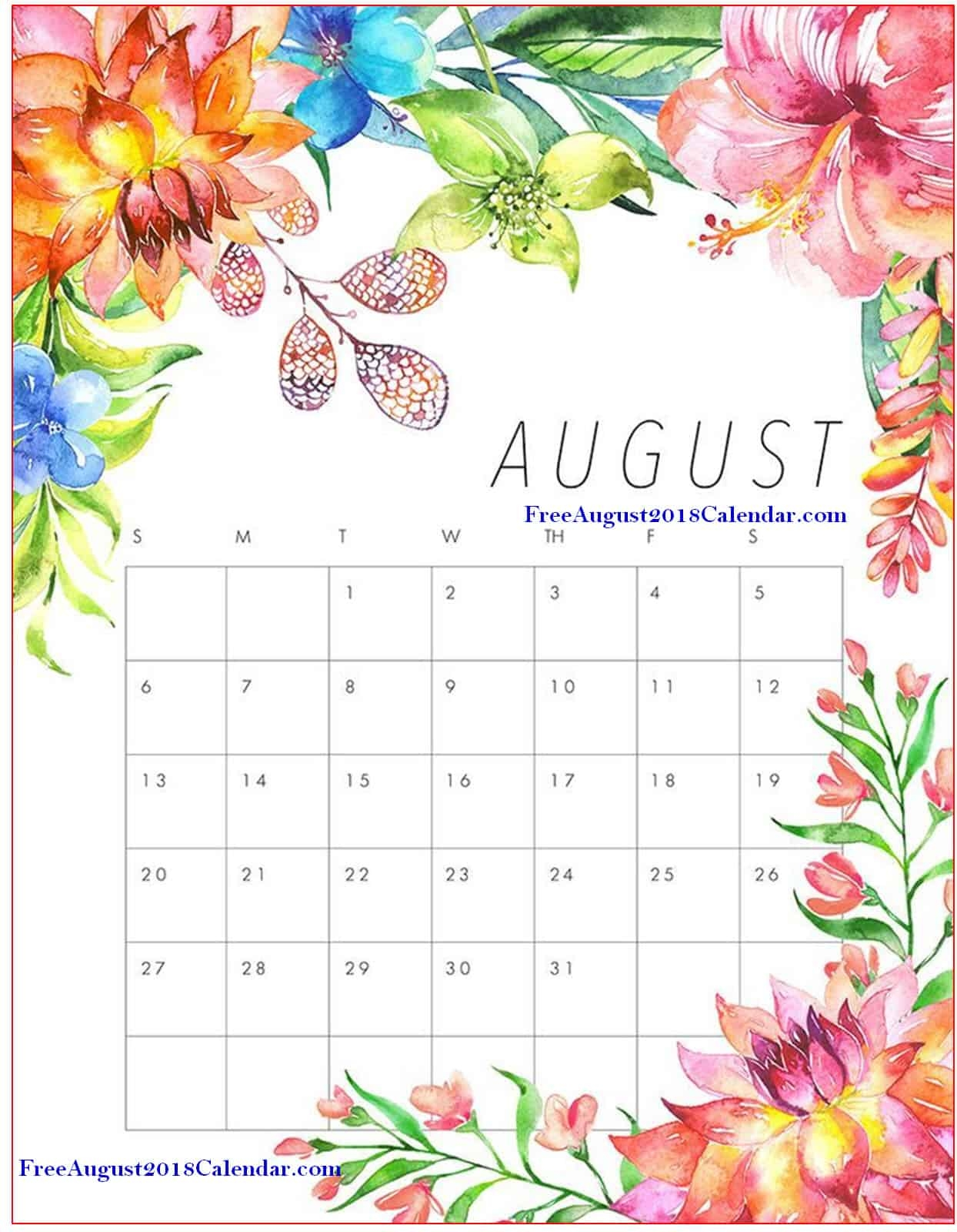 cute august 2018 calendar floral wall pink designs Cute Printable Calendar For August 2018 erdferdf