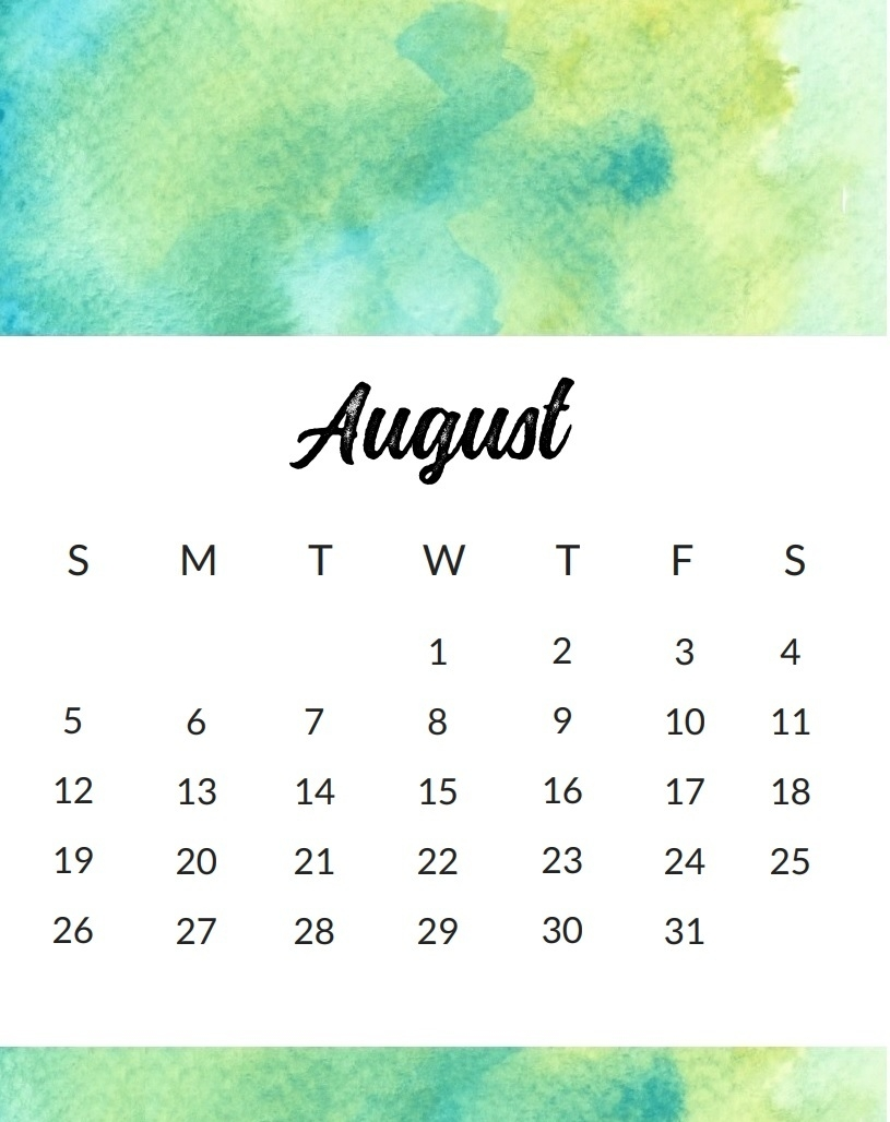 cute august 2018 calendar printable calendar 2018 template excel Cute Printable Calendar For August 2018 erdferdf