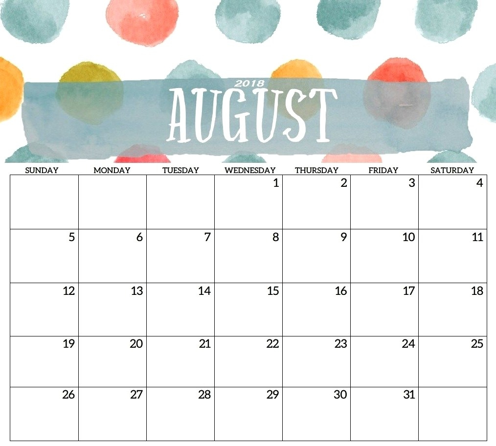 cute august 2018 calendar printable template calendar printable Cute Printable Calendar For August 2018 erdferdf