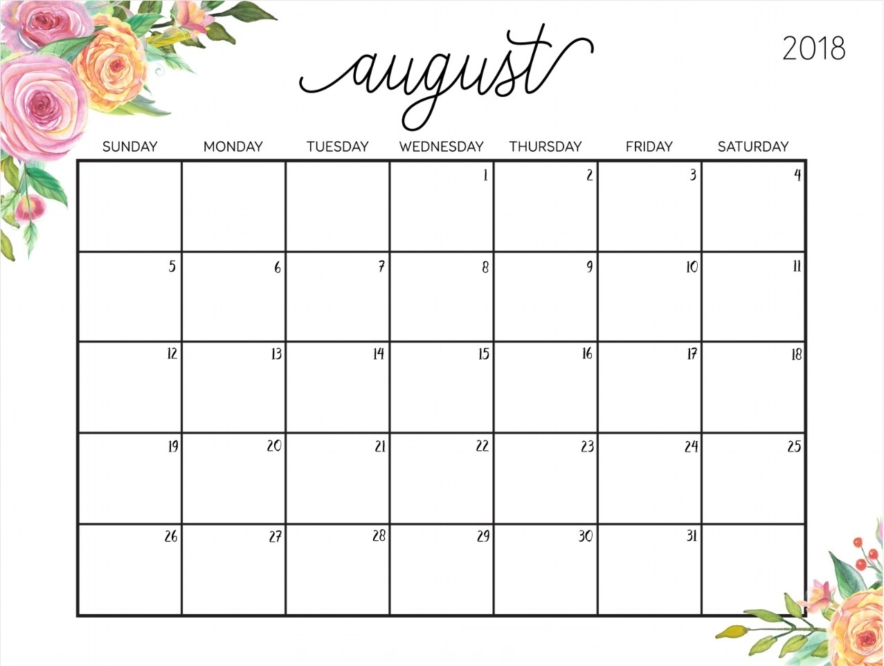 cute august 2018 calendar template printable calendar 2018 Cute Printable Calendar For August 2018 erdferdf
