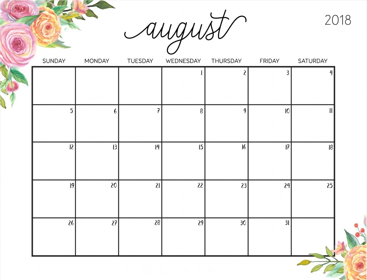cute calendar august 2018 printable calendar 2018 template excel Calendar August 2018 Printable Template erdferdf