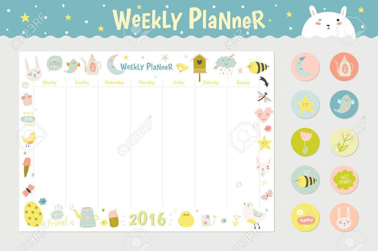 cute calendar weekly planner template for 2016 beautiful diary Cute Printable Blank Calendar Weekly Schedule erdferdf