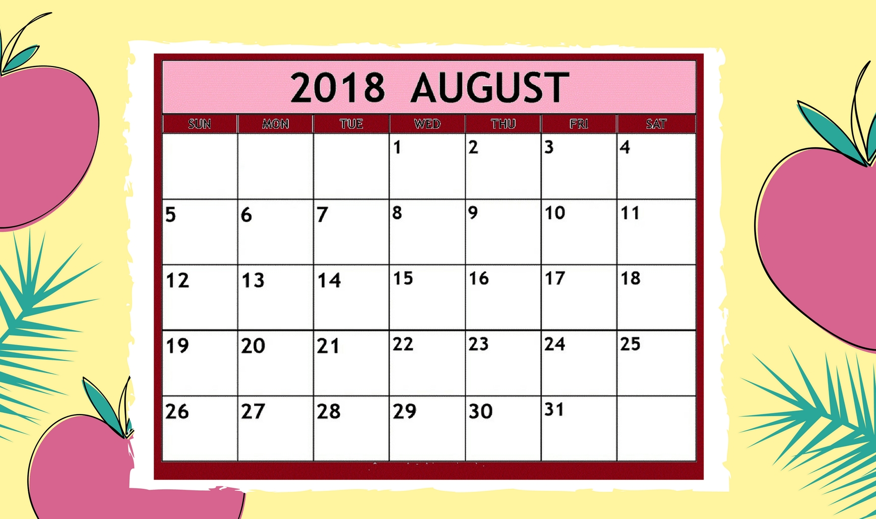 Cute Printable Calendar For August 2018