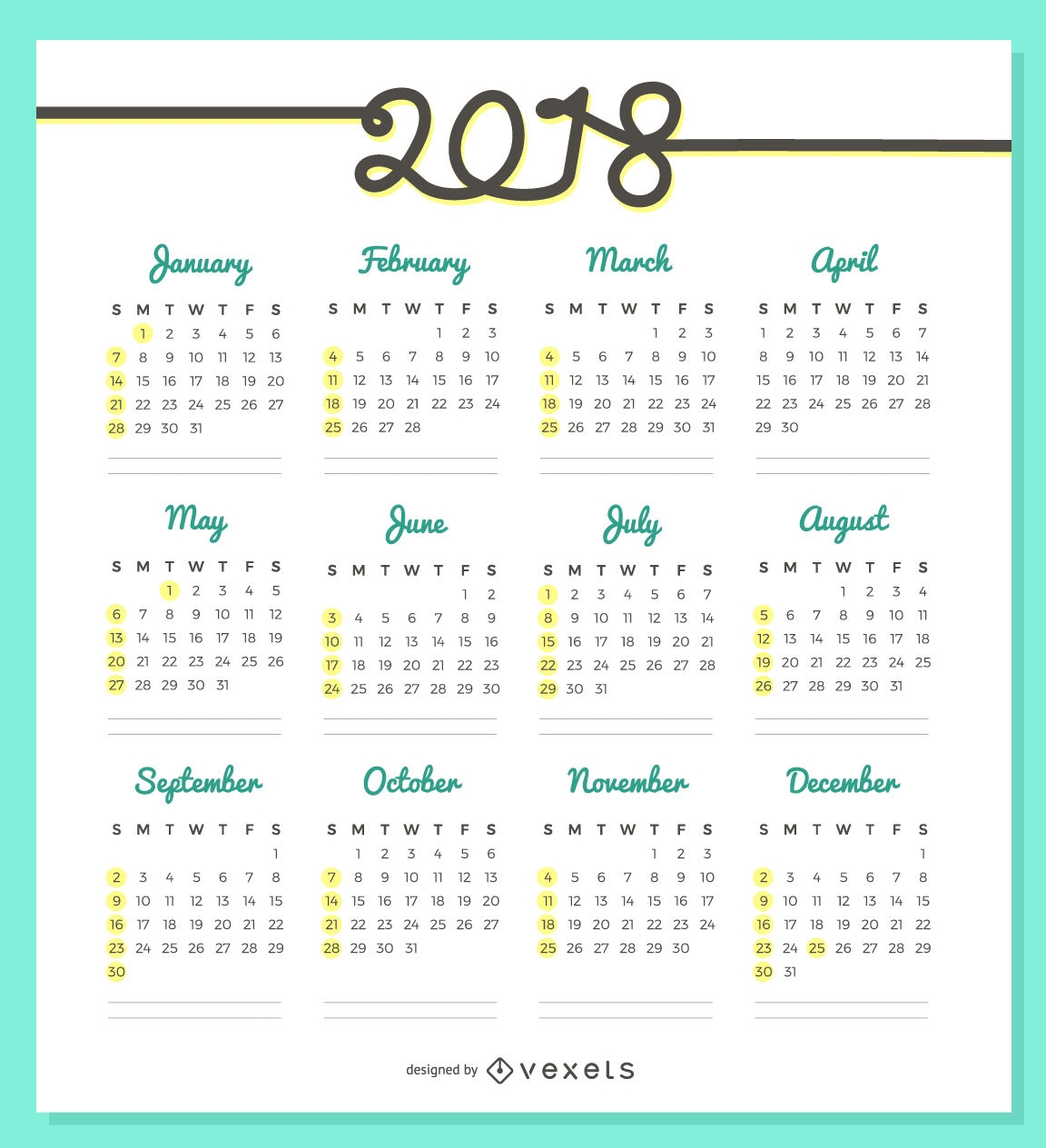 delicate 2018 calendar design vector download Calendar 2018 Design erdferdf