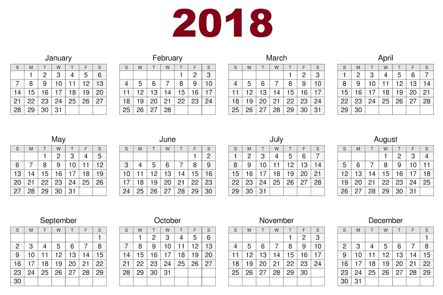 download 12 month printable calendar 2018 from january to 12 month 12 Month 2018 Printable Calendar erdferdf