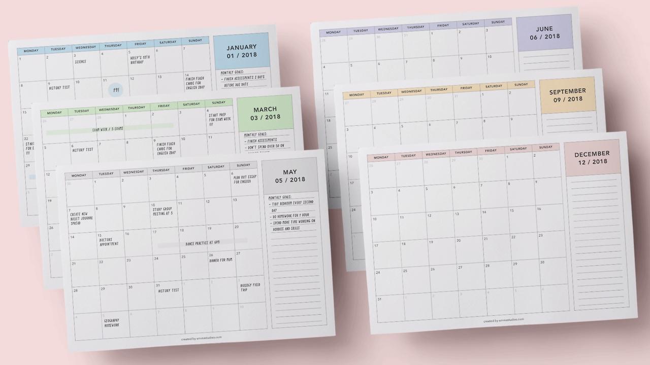 emmas studyblr Tumblr Calendar 2018 By Month Printables erdferdf