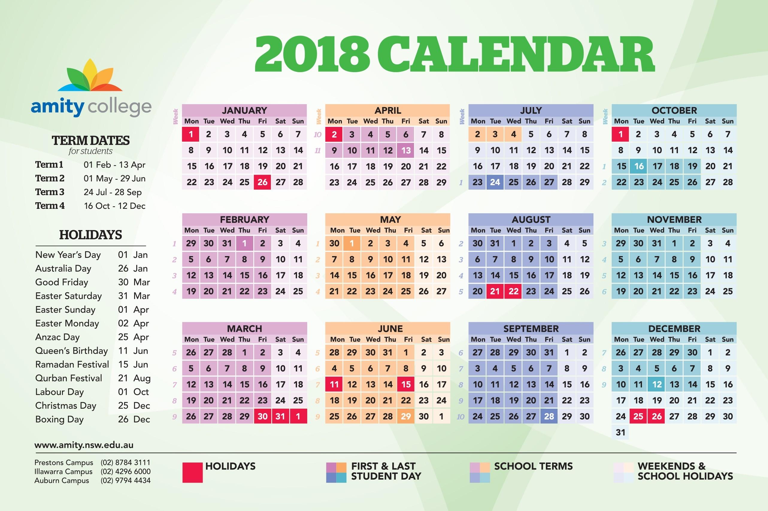 event calendar amity college Nsw School Holidays 2018 Calendar erdferdf