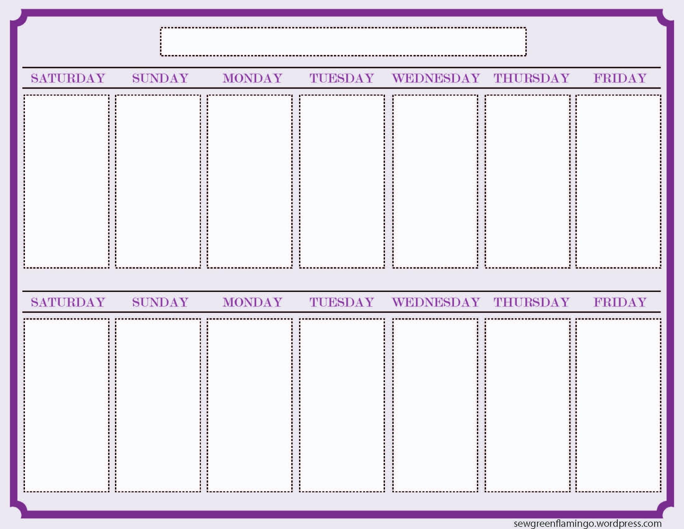 free 2 week blank printable calendar calendar 2018 design Free 2 Week Blank Printable Calendar erdferdf
