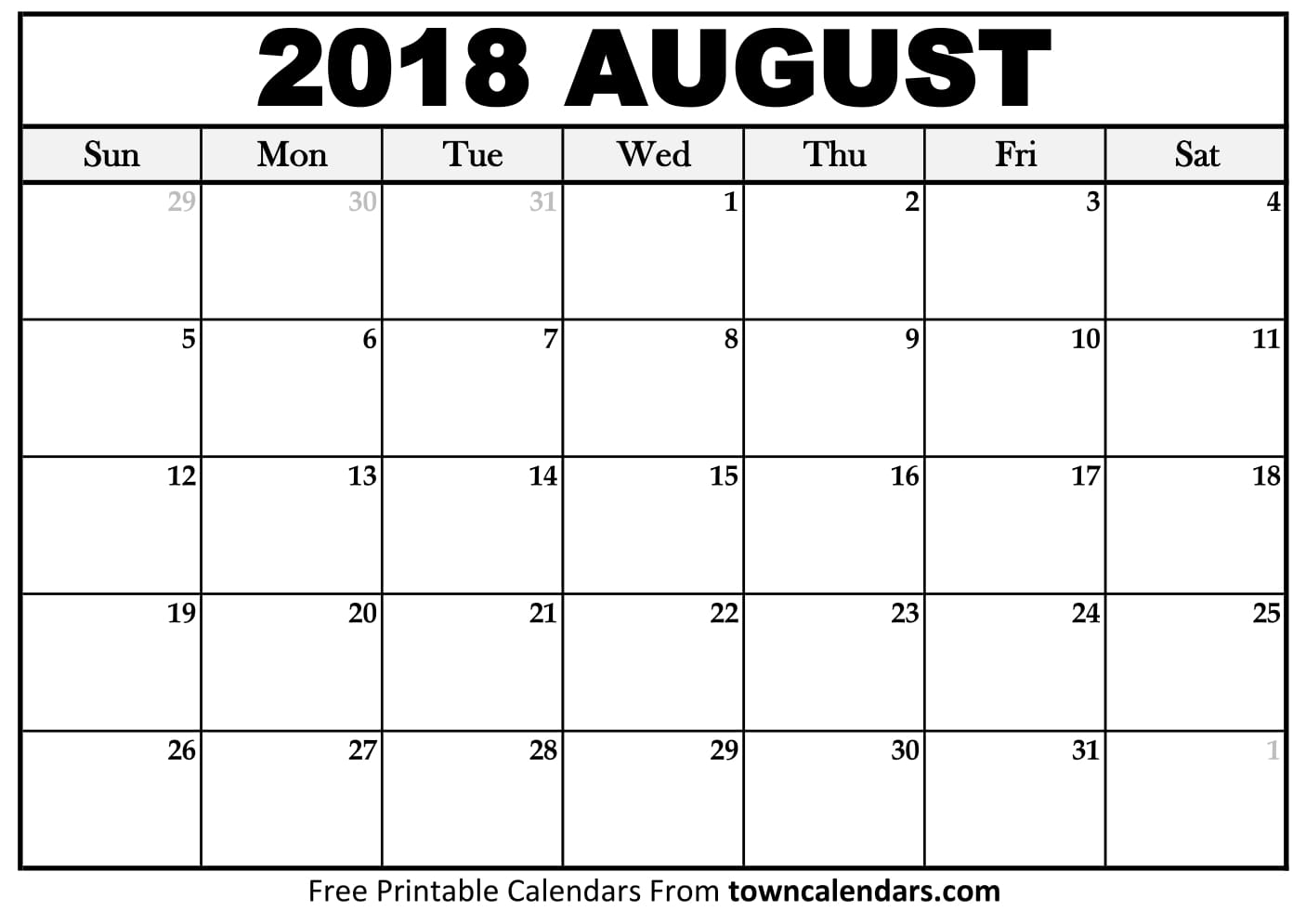 free 5 august 2018 calendar printable template source template Calendar August 2018 Printable Worksheets erdferdf