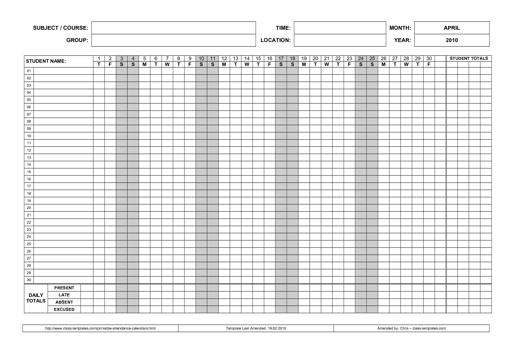 free attendance calendar Free Employee Attendance Calendar 2018  erdferdf