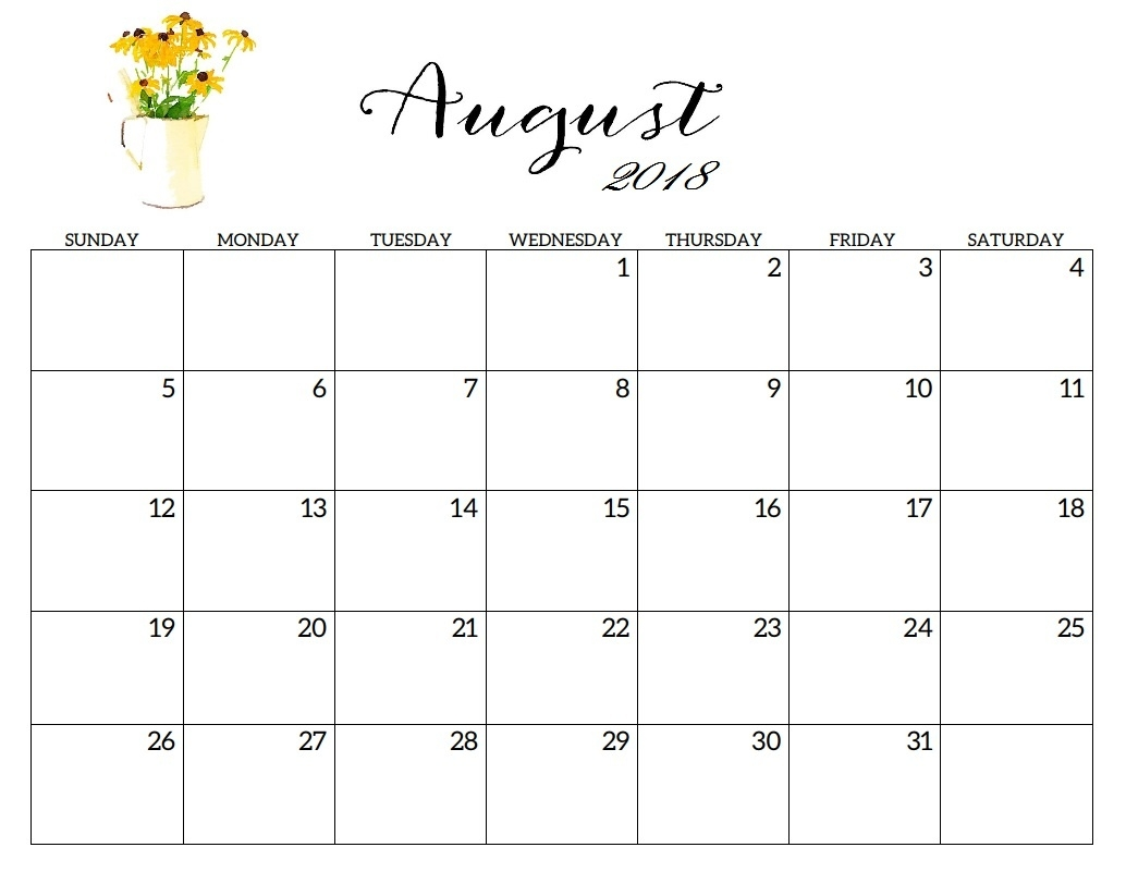 free august 2018 printable calendar printable monthly calendar in Agust Month Printable Calendars 2018 erdferdf
