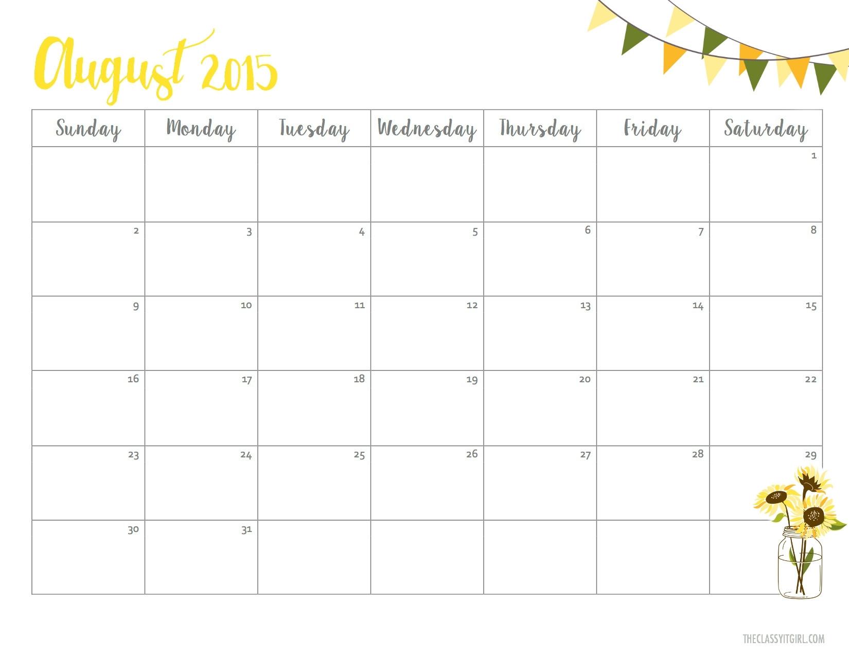 free cute august 2018printable calendar Free Pretty Printable Calendars August 2018 erdferdf