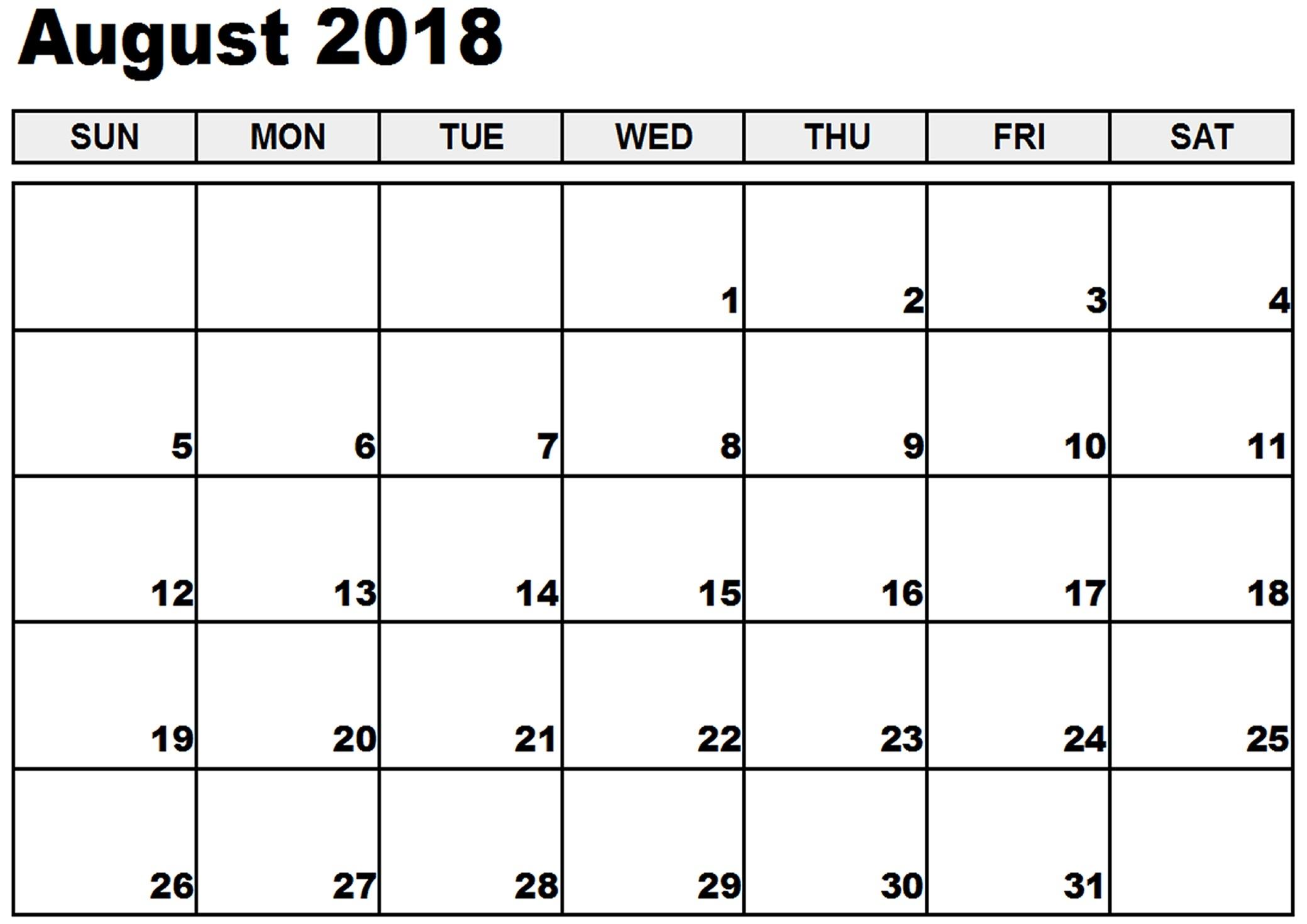 free download august calendar 2018 printable Free Pretty Printable Calendars August 2018 erdferdf