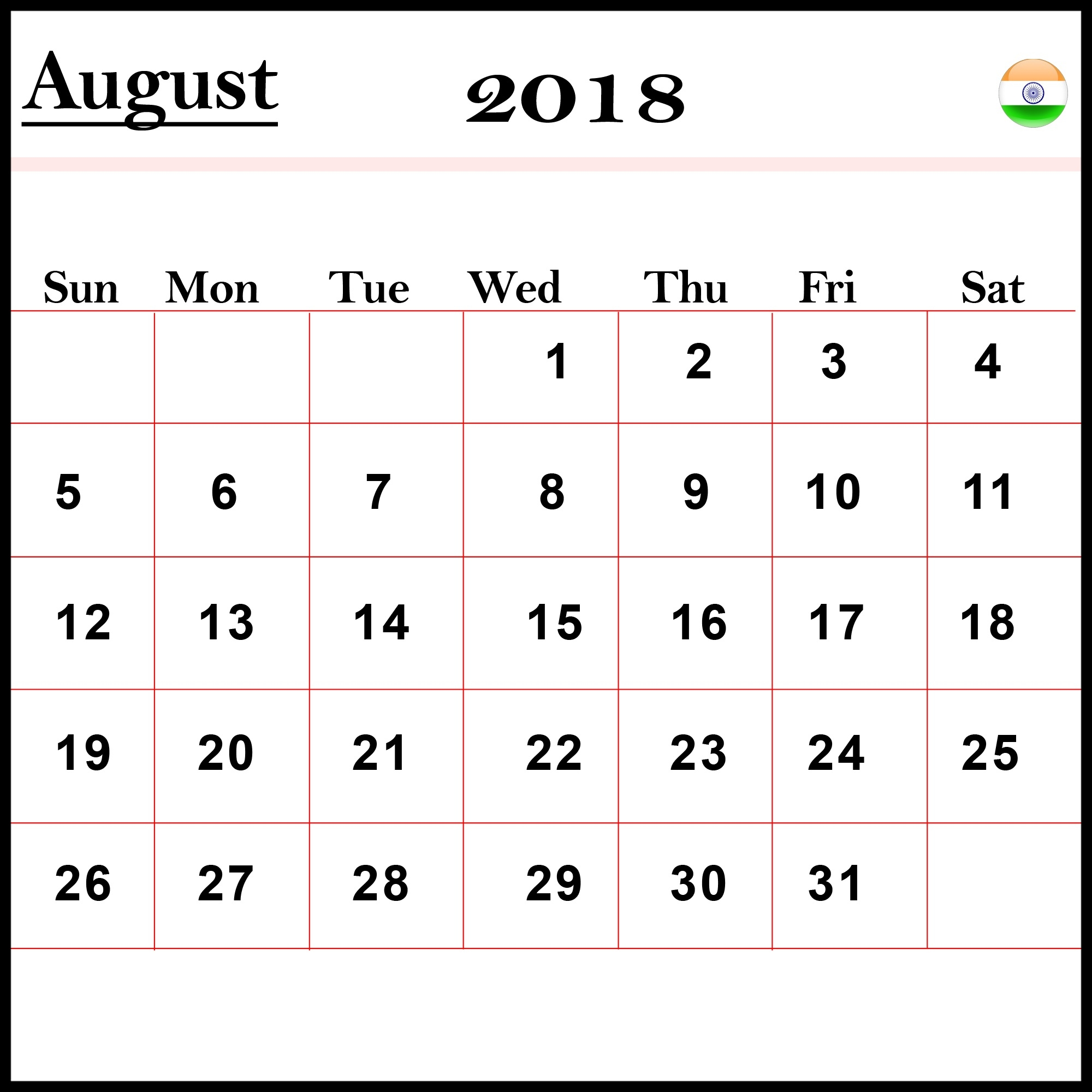 free download blank calendar august 2018 template printable Calendar August 2018 Printable Free erdferdf