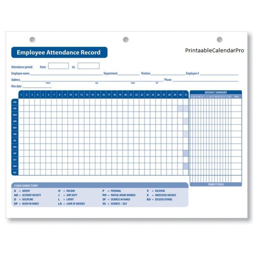 Free Employee Attendance Calendar 2018