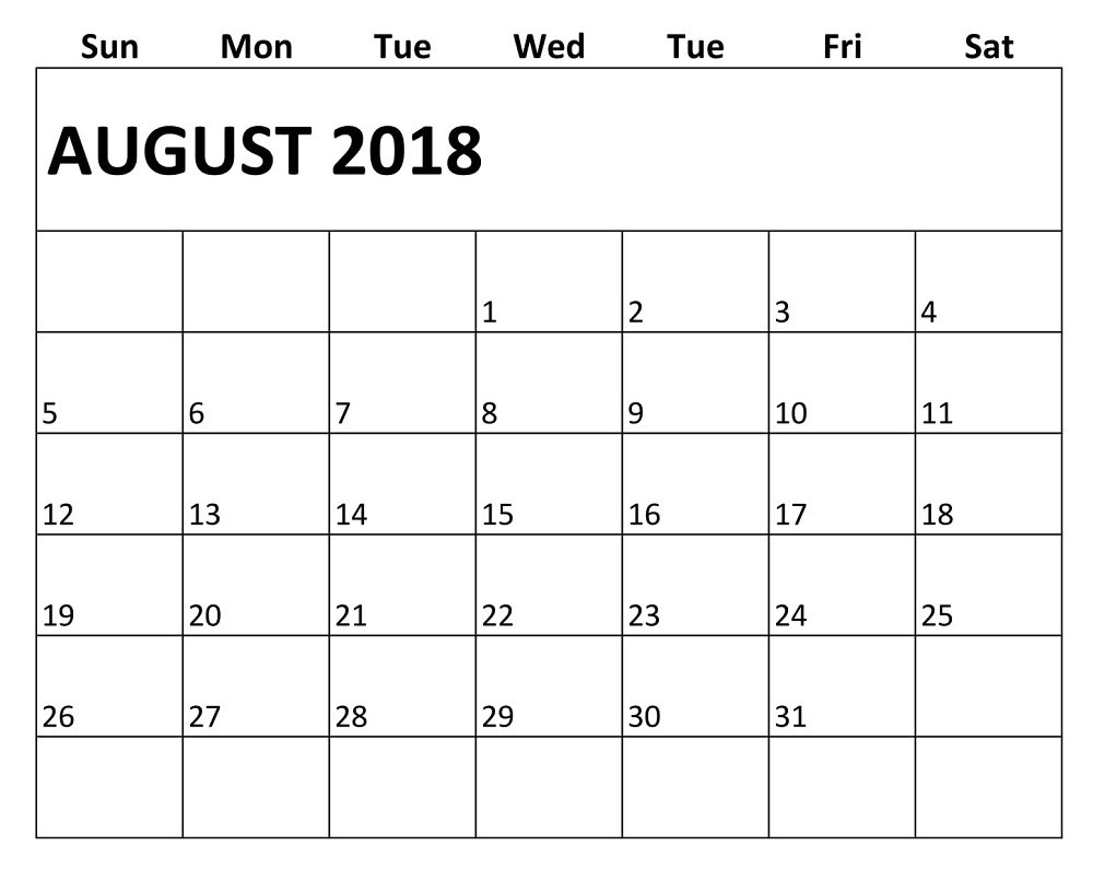 free monthly august 2018 calendar printable free printable Agust Month Printable Calendars 2018 erdferdf
