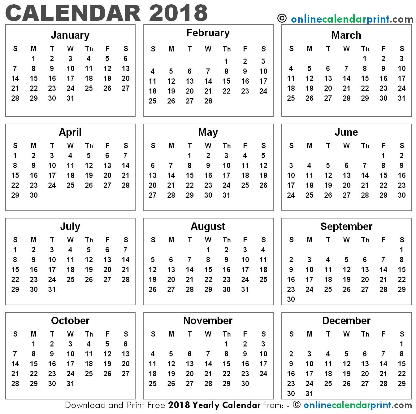 Free Printable 12 Month Calendar 2018