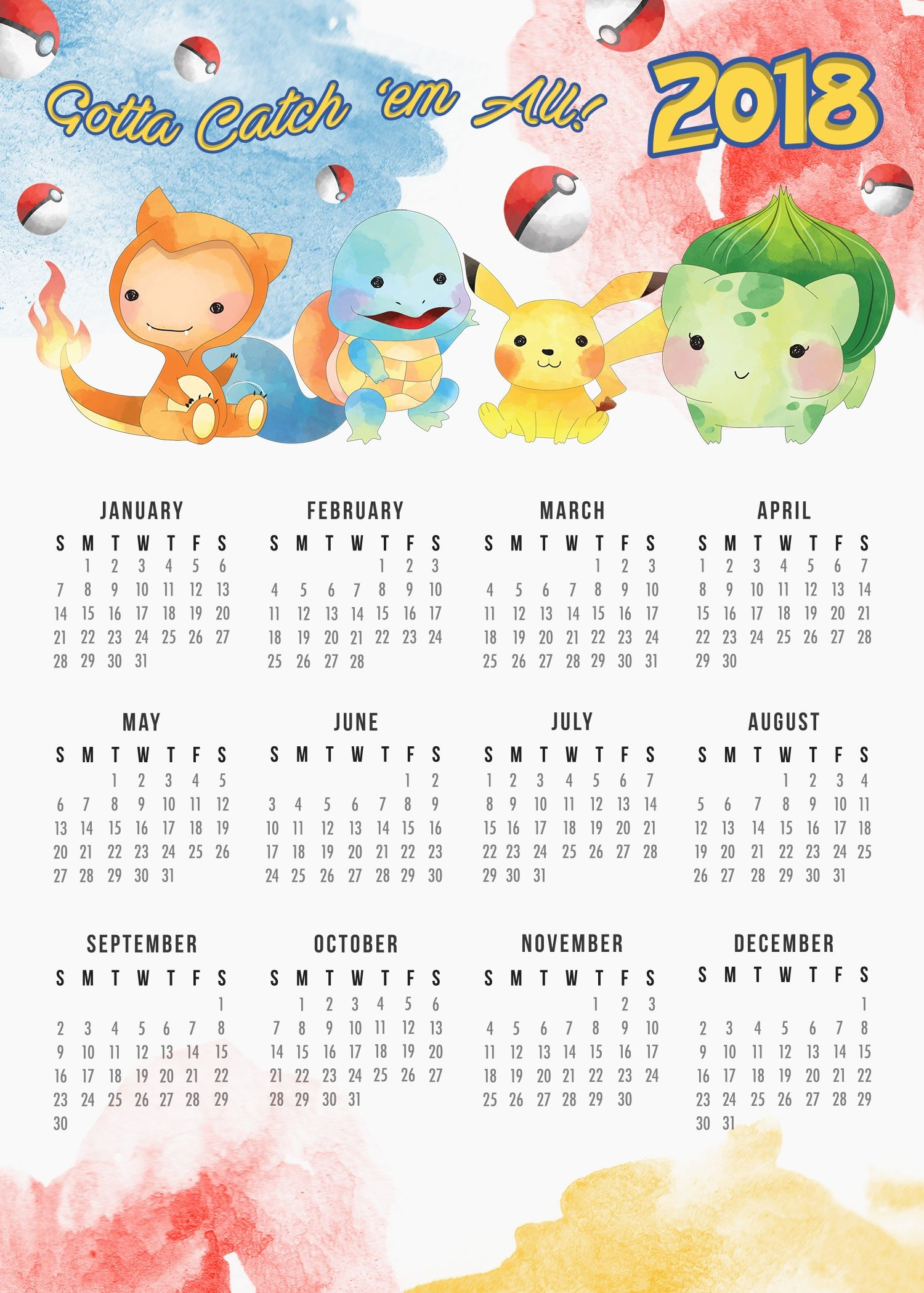 free printable 2018 pokemon calendar free printable pokmon and free Disney Princess Printable Calendar 2018 erdferdf